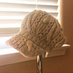 Knitting Newsboy Hat W/Pom Pom